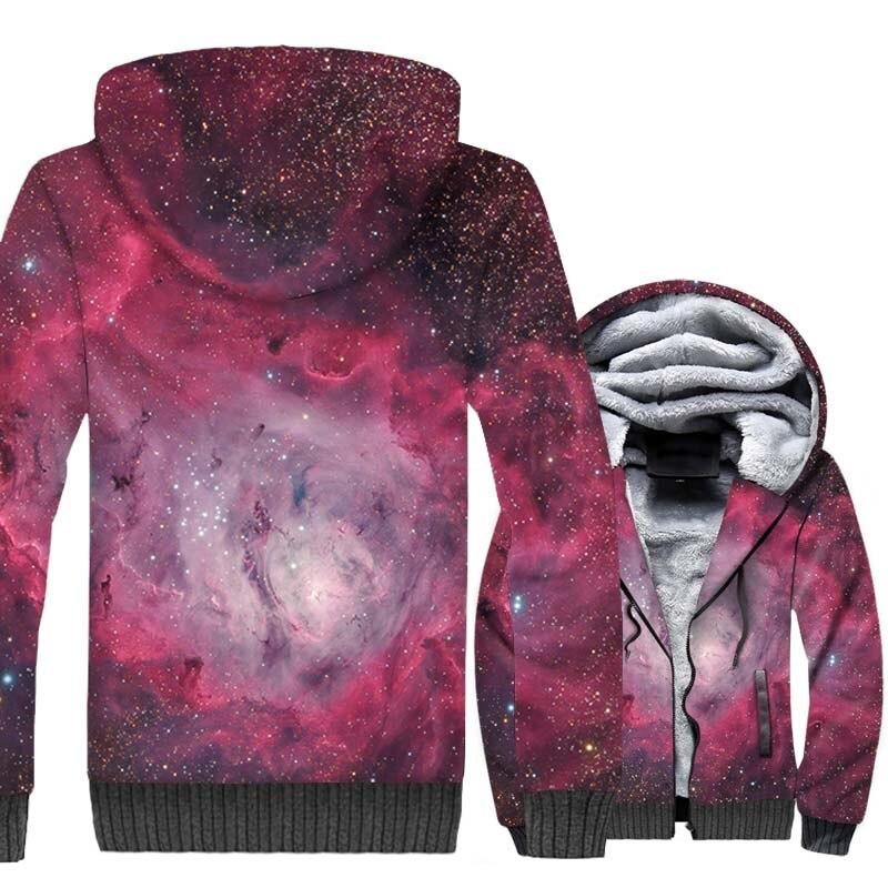 New Print Nebula Jacket 2018 Winter Thick Men 39 s Hoodies Hip Hop Unisex Zipper Sweatshirts Harajuku Fleece Space Galaxy Coat Tops in Hoodies amp Sweatshirts from Men 39 s Clothing