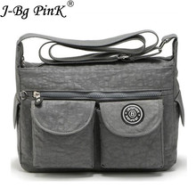 J-BG PinK Ladies ShoulderBags Women Bags Nylon Fashion Women Hobos Design Messager Bag 2017 New Arrival Female Zipper Bag Soft