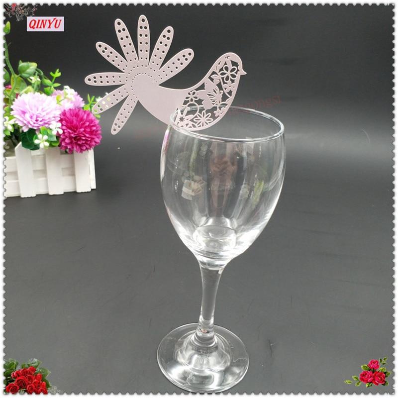 100pcs Laser Cut Bird of Paradise Cup Card Wine Glass Card