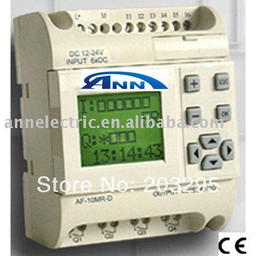 PLC  controller AF-10MT-E2 with HMI,12- 24VDC,6 points DC input 4 points electronic transistor output c500 bat08 plc controller battery