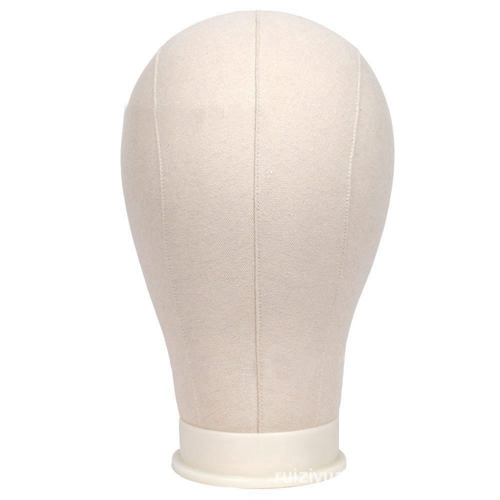 HOT Mannequin Canvas Cork Block Head Wig Toupee Display Style Dry Dye Model with Mount Hole - Beige,32cm