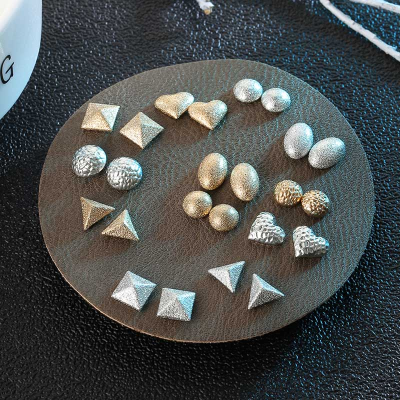 12 Pairs/set Punk Style Scrub Metal Geometric Earrings For Women Simple Jewelry Female Silver Gold Small Stud Earring Set Brinco
