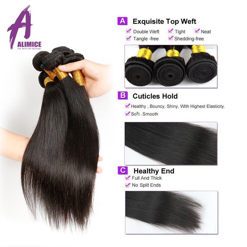 Alimice Hair Prosto Brazylijski Włosy Ludzkie Włosy Wyplata Wiązki - Włosy ludzkie (na czarno) - Zdjęcie 5