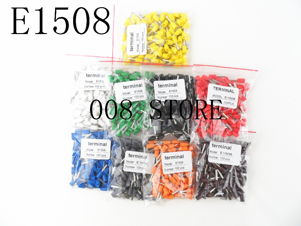 E1508 Tube insulating Insulated terminals 1.5MM2 100PCS/Pack Cable Wire Connector Insulating Crimp Terminal Connector E- e1508 tube insulating insulated terminals 1 5mm2 100pcs pack cable wire connector insulating crimp terminal connector e