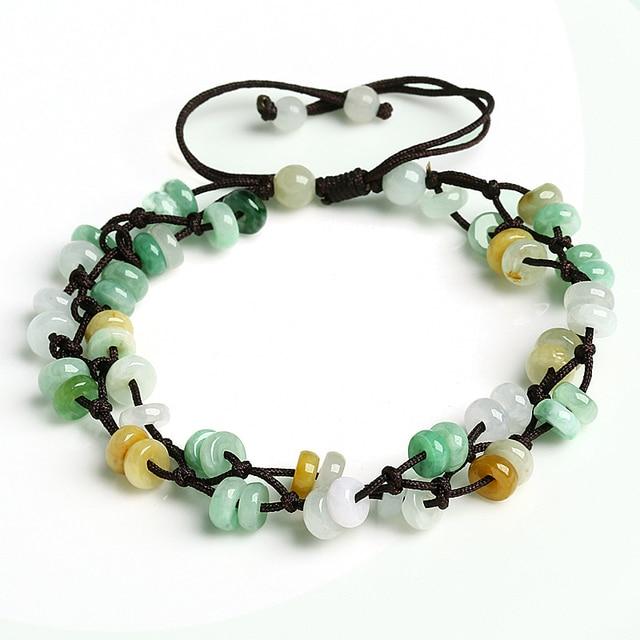 Natural three color jade abacus beads woven bracelet genuine home Burma jade beads jade bracelet sale