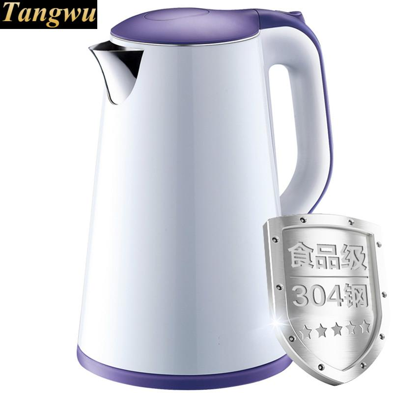 Electric kettle 304 stainless steel double layer 1.7 litre kettles free shipping high end pots and double layer anti hot quality stainless steel electric kettles