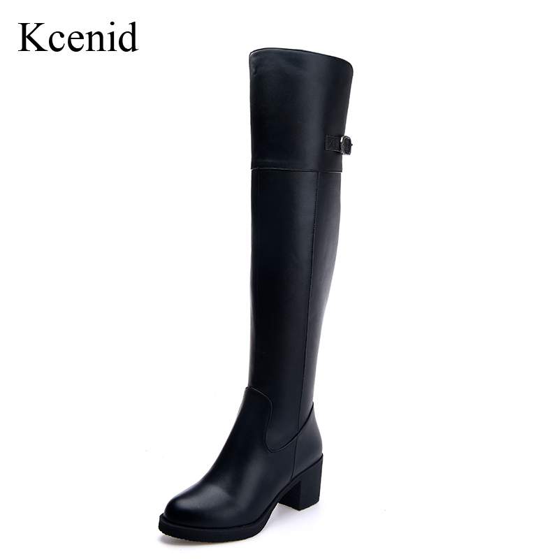 Kcenid High quality fashion buckle winter knee high boots woman genuine leather black winter shoes chunky heels thigh high boots цена