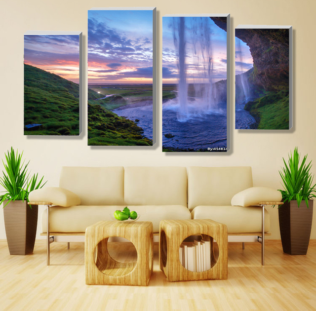 4 pieces set unframed modular waterfall wall art painting iceland sunset contemporary art canvas prints wall