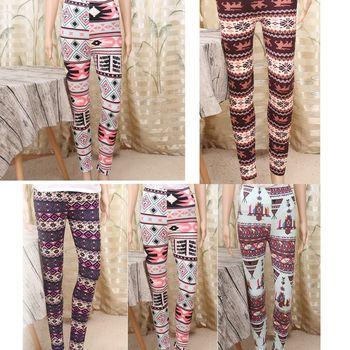 HEALMEYOU Vogue Women Warm Winter Knit Snowflake Leggings Xmas Tight Fleece Stretch Pants tights