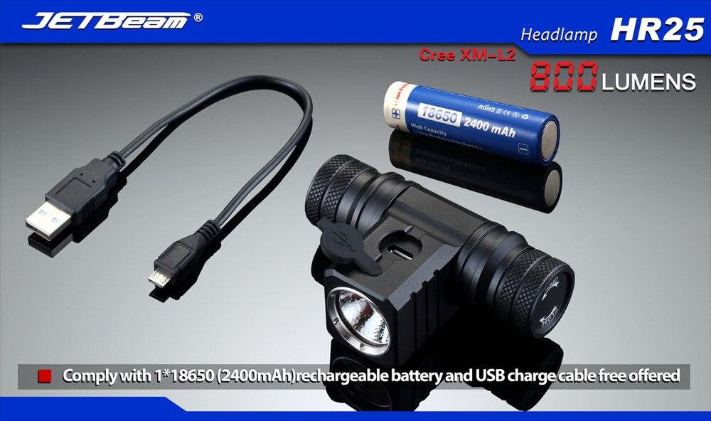 2015 NEW Jetbeam HR25 headlamp Cree XM-L2 800 Lumens 18650 headlight + 1PCS Jetbeam 2400mAh 18650 battery стоимость