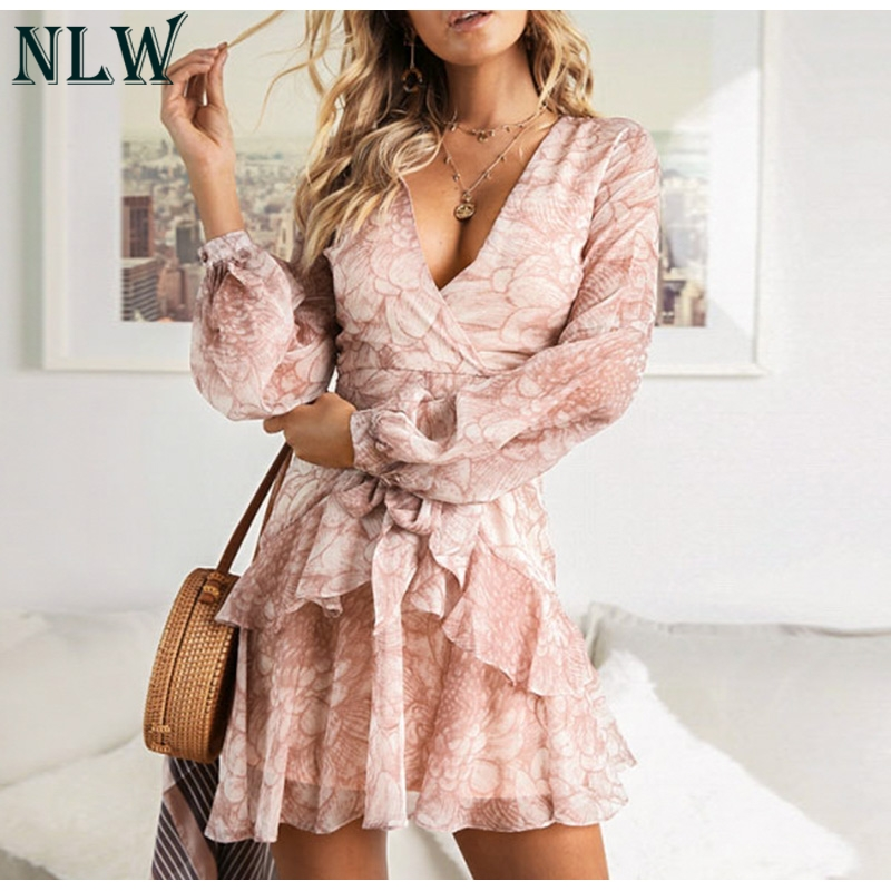 NLW 19 Long Sleeve Chiffon Women Dress Feminino Party Ruffle Dress Elegant Casual Vintage Autumn Winter Pink Dresses Vestidos 2