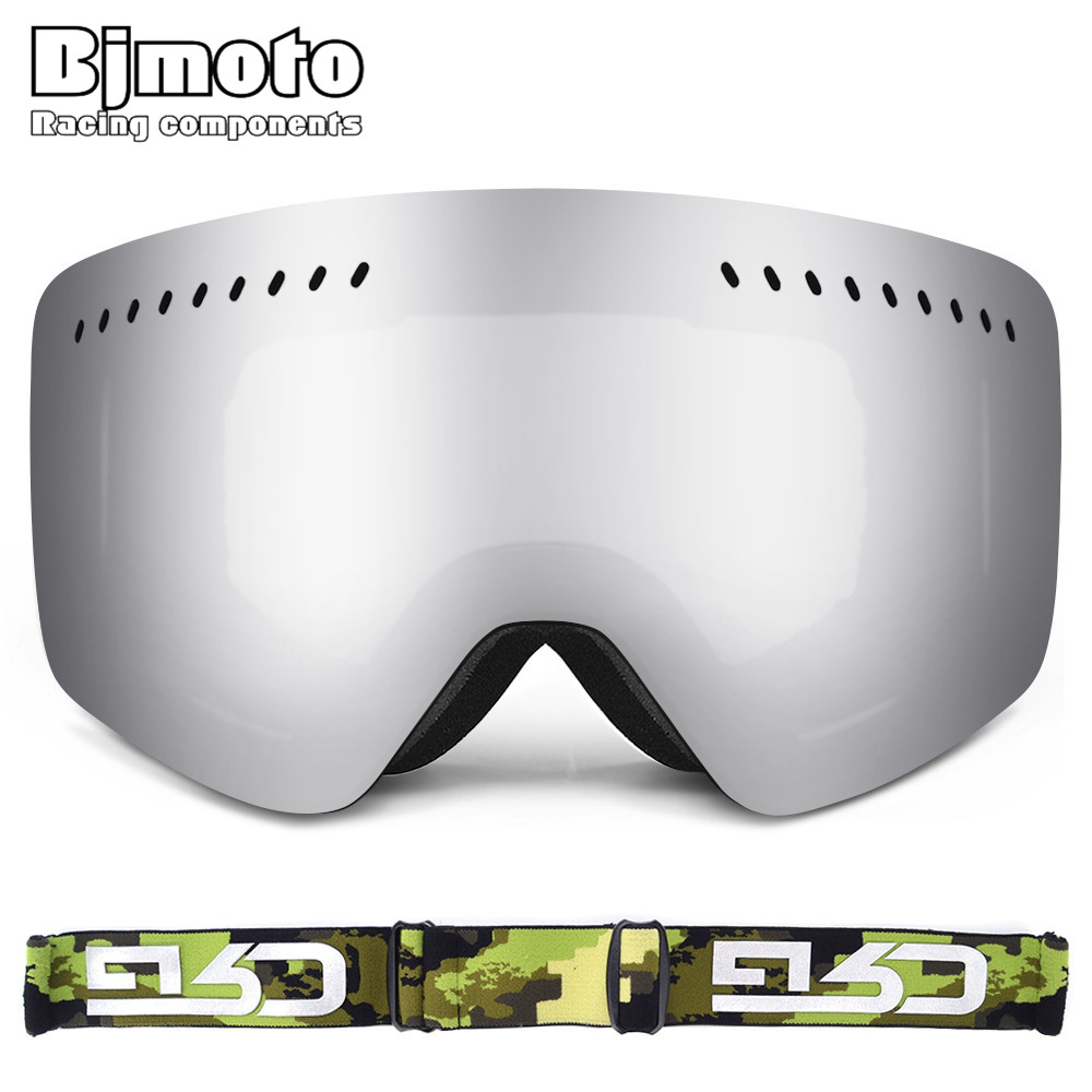 Bjmoto Men Women Skiing Snowboarding Goggles Double Lens Anti-fog UV Snow Ski Goggles Glasses Snowboard Goggles