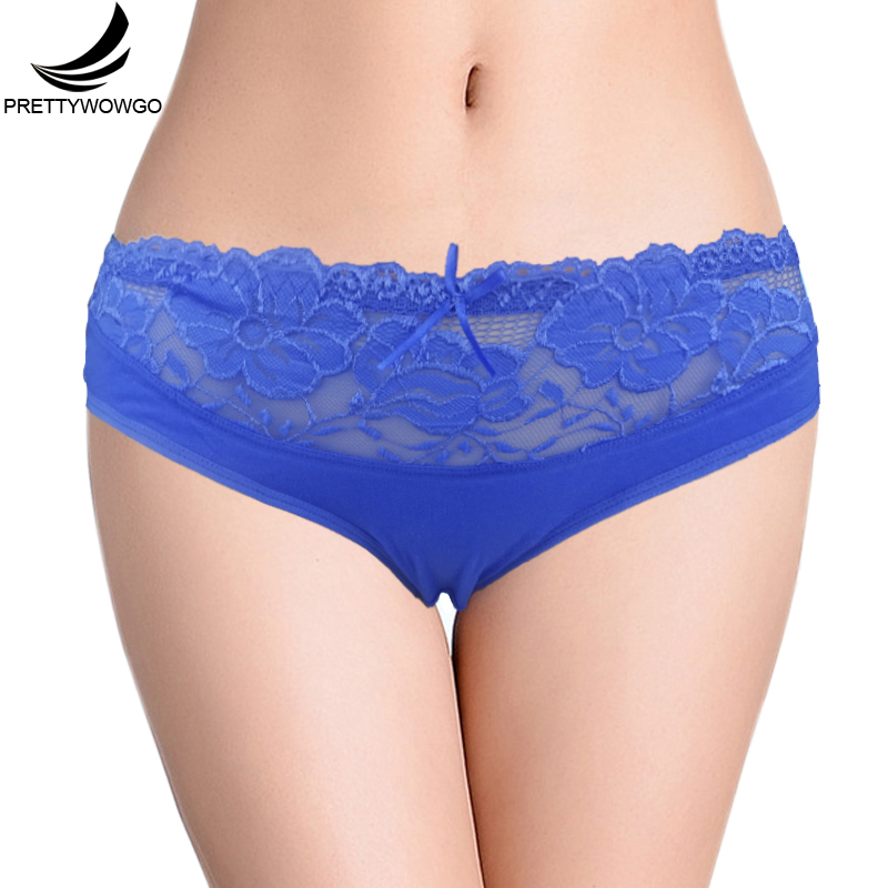 Prettywowgo New Arrival 2019 High Quality Womens 6 Color Cotton Lace Briefs   Panties   1016