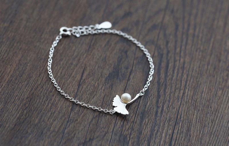Новые серебряные браслеты ginkgo с искусственным жемчугом и
