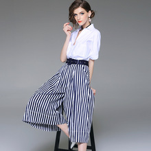 Cotton white v-neck loose pullovers blouse and striped wide leg calf length pants 2 piece pants suits 2018 new women summer suit