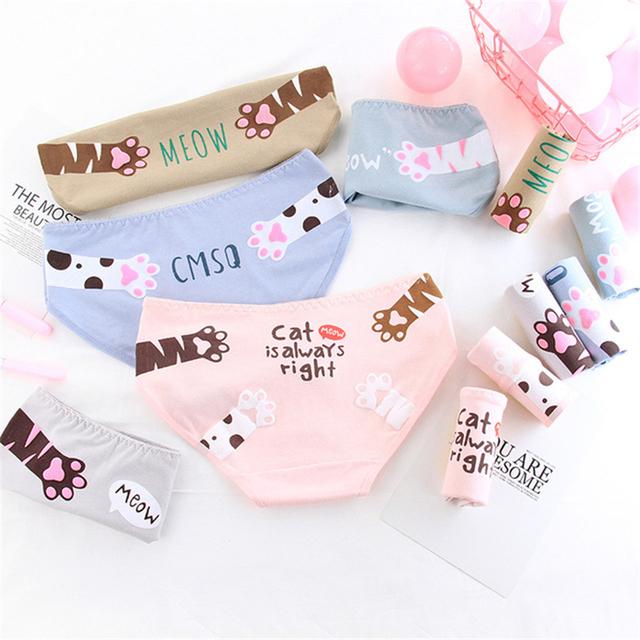 Women's Cat Paw Printed Panties