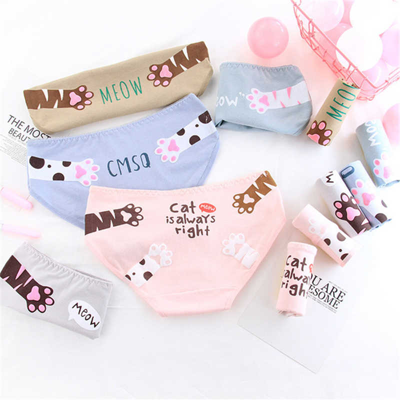 e5427a8f654 ... Girl briefs women s panties cotton cat print underwear female casual  cartoon underpants ladies sexy lingerie Teenager ...
