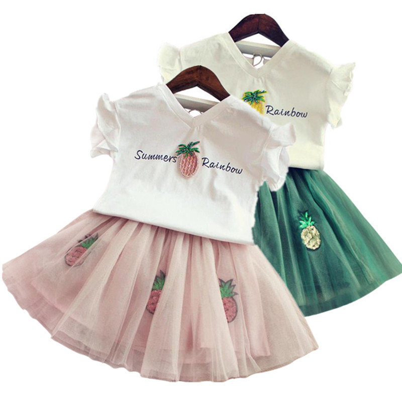 2018 New Casual Children Outfits Tracksuit Summer Clothing baby girls Floral t-shirt + girls tutu skirt Suit girls Clothing Set new hot sail 2015 children girl chiffon top skirt set baby pettiskirt tutu top girls tutu skirt free shipping