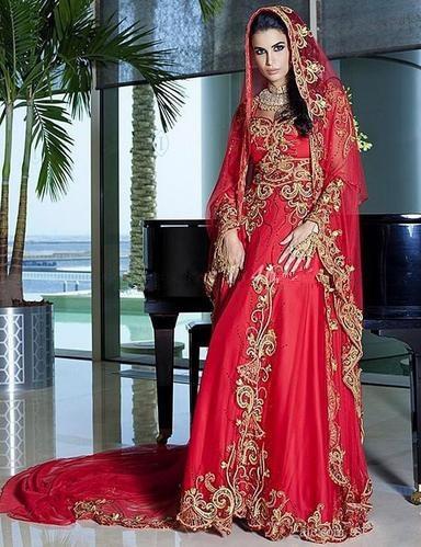 Dubai Kaftan Red Muslim Wedding Dress Sweetheart Liques Floor Length Ic Gowns With Hijab