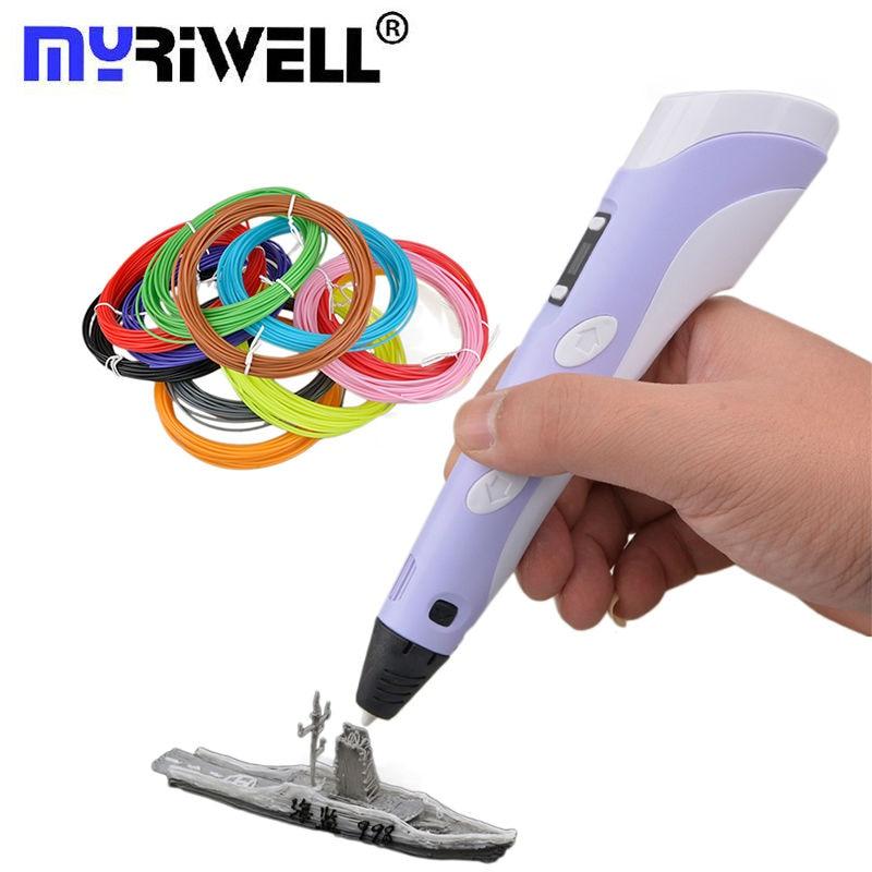 Myriwell 3D pluma impresora con filamento 1.75mm ABS/Pla 20 color material de goma de plástico para los niños DIY 3D filamento de la pluma de la impresión