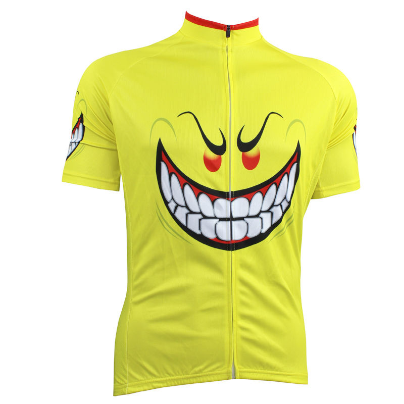 ФОТО 17 Evil expression Pattern Men's 2017 Sleeve Quick Dry Bike Clothes Yellow Cycling new Size XS-5XL