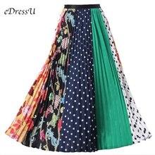 2019 High Waist Midi Skirt Women Print Trendy Pleated Skirt Chic Elastic Summer Autumn Skirt Casual Daily Wear LS-9831 chic women s ethnic print high waist skirt