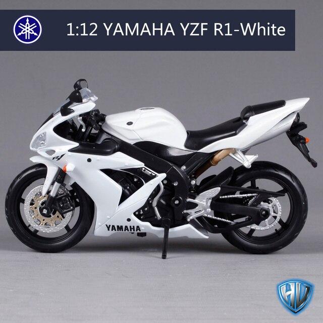 Maisto 1:12 Yamaha Yzf R1 Branco Moto Bicicleta Modelo Em Metal Fundido Brinquedo Novo Na Caixa