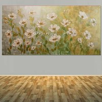 Large Hand Painted Abstract White Flower Oil Painting On Canvas Abstract Wall Picturs Living Room Bedroom