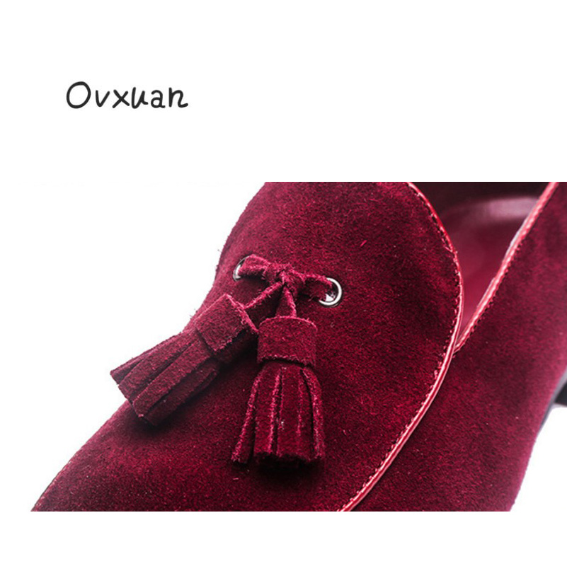 Ovxuan Italy Handmade Red Suede Loafers Men Smoking Slippers Moccasins Man  Flats Party Men Wedding Shoes Casual Tassels shoes-in Men s Casual Shoes  from ... 5535134327f9
