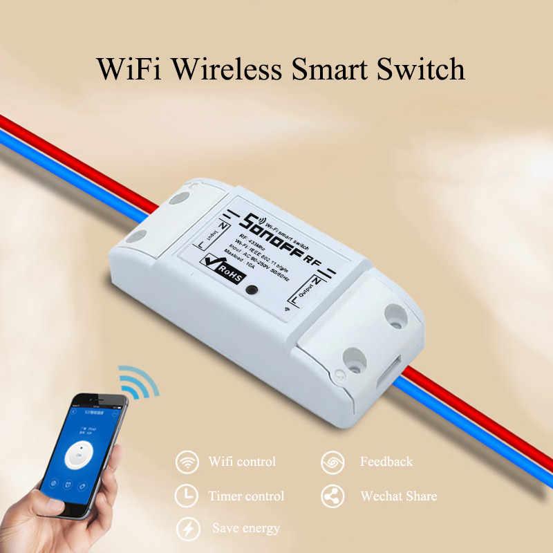 Sonoff bezprzewodowy przełącznik Wi-Fi uniwersalny inteligentny moduł automatyki domowej zegar Diy pilot do włącznika kurtyny poprzez iOS Android 10A/2200 W