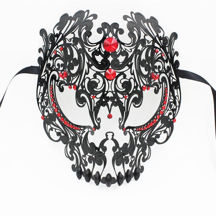 Black Metal Laser Cut With Red Rhinestone Masquerade Halloween Eve Party Mask