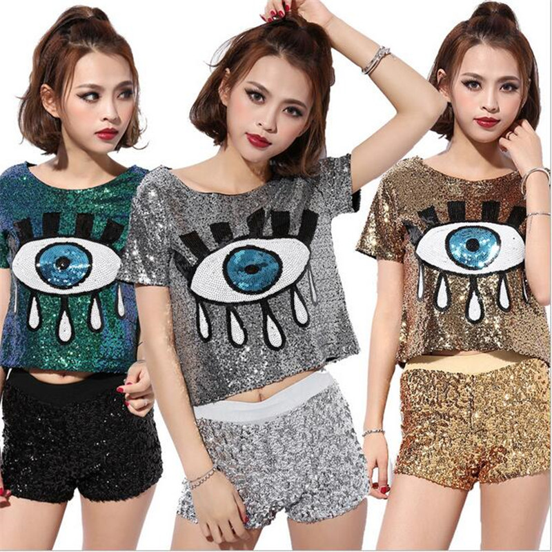 2016 New Sequin Hip-hop Tops Big Eyes Printed Jazz DS Costume Performance Wear Hiphop Paillette T-shirt Short Sleeve Crop Top