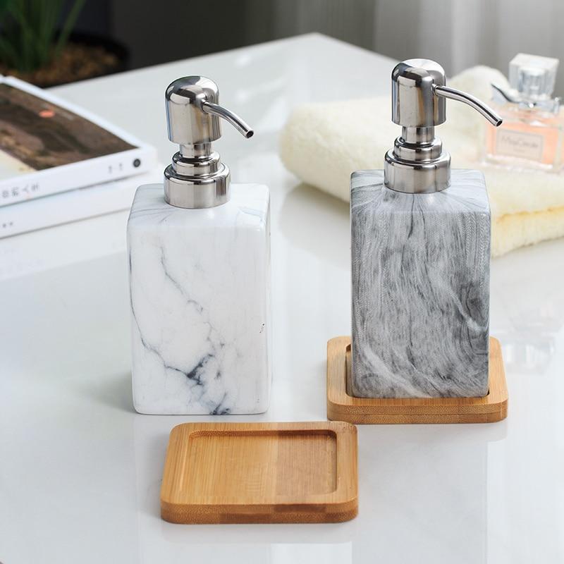 Ceramic Hand Washing Liquid Bottling with Wood Pad