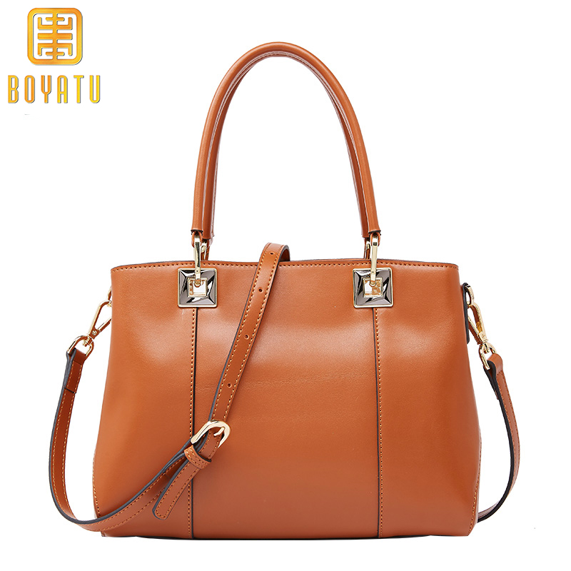 BOYATU Genuine Leather Shoulder Bag Women's Handbags New Arrival Brand Top-handle Famous Designer Lady Totes Casual Bags Sac цены онлайн