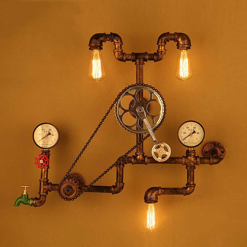 Винтажные Настенные светильники Лофт Промышленные колеса водопровод настенный светильник Ретро светильник для ресторана бара столовой