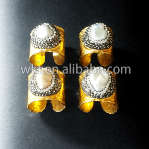 Exclusive! Natural freshwater mother of pearl rings, matted gold electroplated wide band cigar CZ pave pearl ring WT-R194