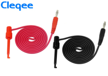 цена на NEW Cleqee P1039 1Set 4pcs 4mm Banana Plug to Test Hook Clip Test Lead Cable For Multimeter