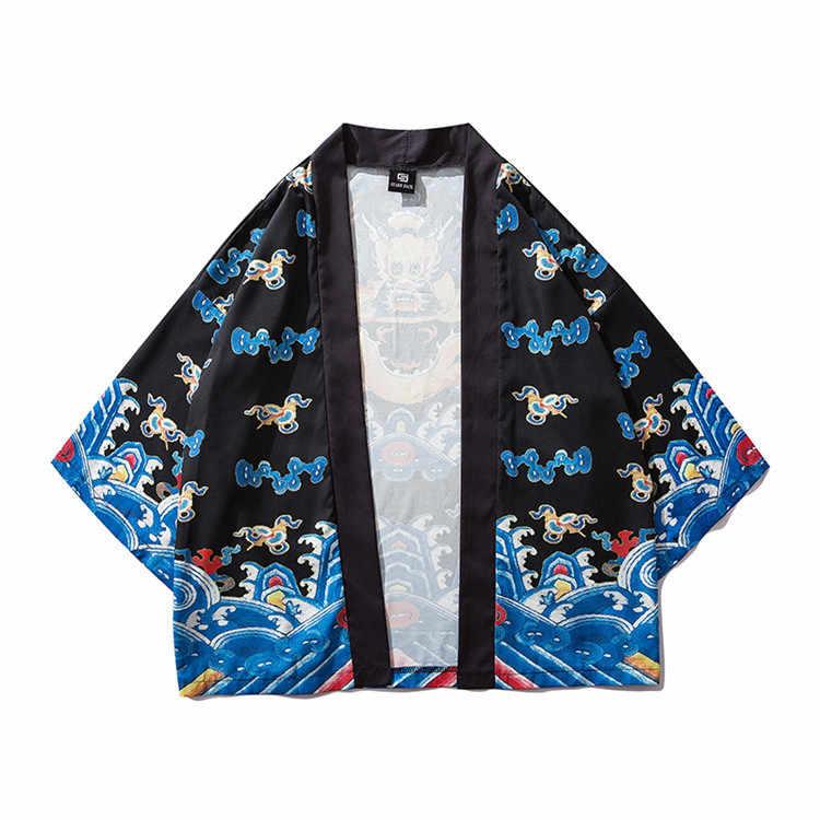 Блузки мужская гавайская рубашка мужская Японская кимоно кардиган harajuku Японская уличная одежда крутая блузка Мужская рубашка KX630