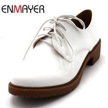 ENMAYER Spring/Autumn Casual Shoes Woman Shallow Girls Flats Lace-up Round Toe Lades Med Heel Platform