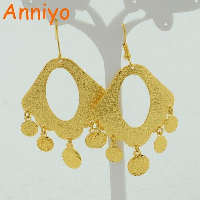 Coin oorbellen voor vrouwen 18 k real gold plating gevuld sieraden vrouw groter oorbel geel vergulde, Fabriek gemarkeerd prijzen nieuwe