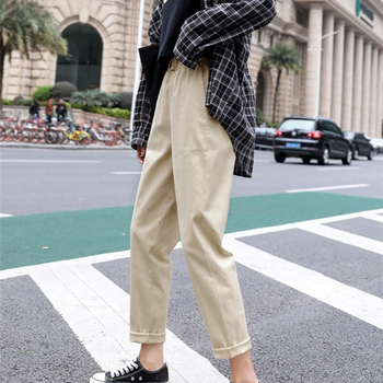 Beige High waist Casual Pants Women loose Spring Autumn 2019 New Women's Korean slim Harem pants Plus Size Nine pants 3XL F279 4