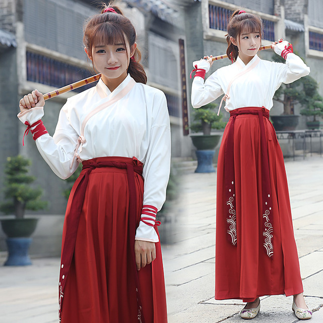 ancient china dynasty costume slim girl red hanfu dress