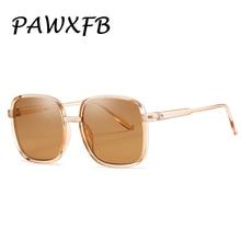 PAWXFB 2019 New Oversized Square Sunglasses Women Retro Brown Driving Sun Glasses Fashion Vintage Big frame Eyewear Shades
