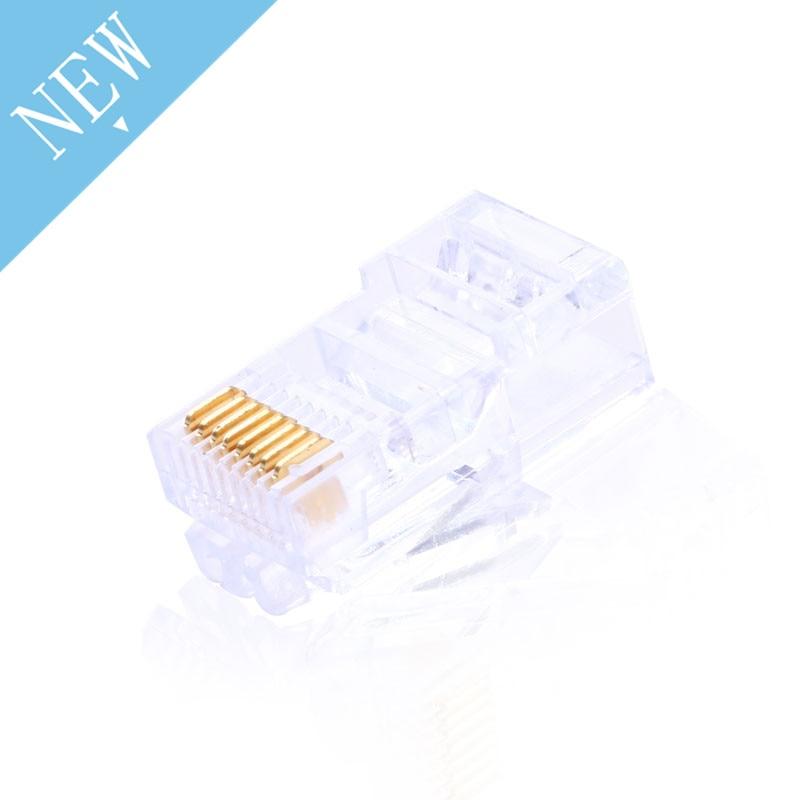 10Pcs 8P Gold Plated RJ45 Net Network Modular Plug Cat5 CAT5e Connector New Drop Ship