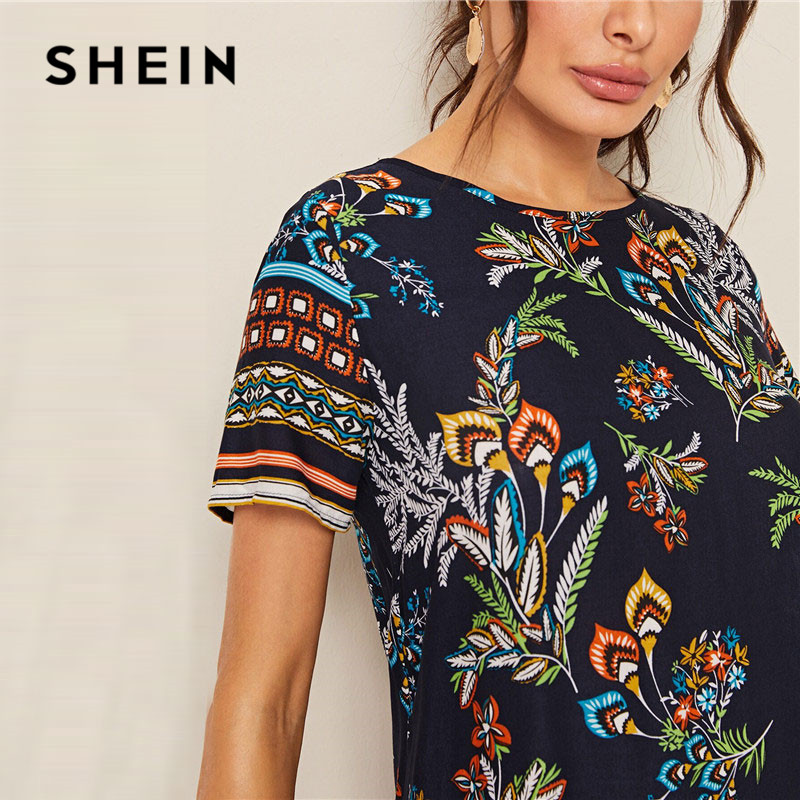 Shein Mixed Print Keyhole Back Tunic Summer Dress Women's Shein Collection