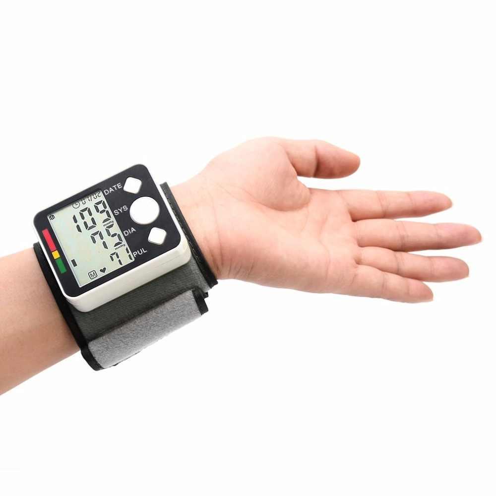 แบบพกพา BP628 นาฬิกาข้อมือ LCD เครื่องวัดความดันโลหิต Sphygmomanometer Cuff NonVoice Health Care Monitor อุปกรณ์ tonometer