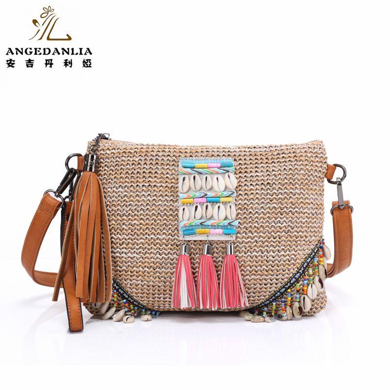Bohemian embroidered straw Tassel envelope handbag Hippie Gypsy Women Tote Bags BOHO Ethnic Bag shoulder Bag crossbody bags