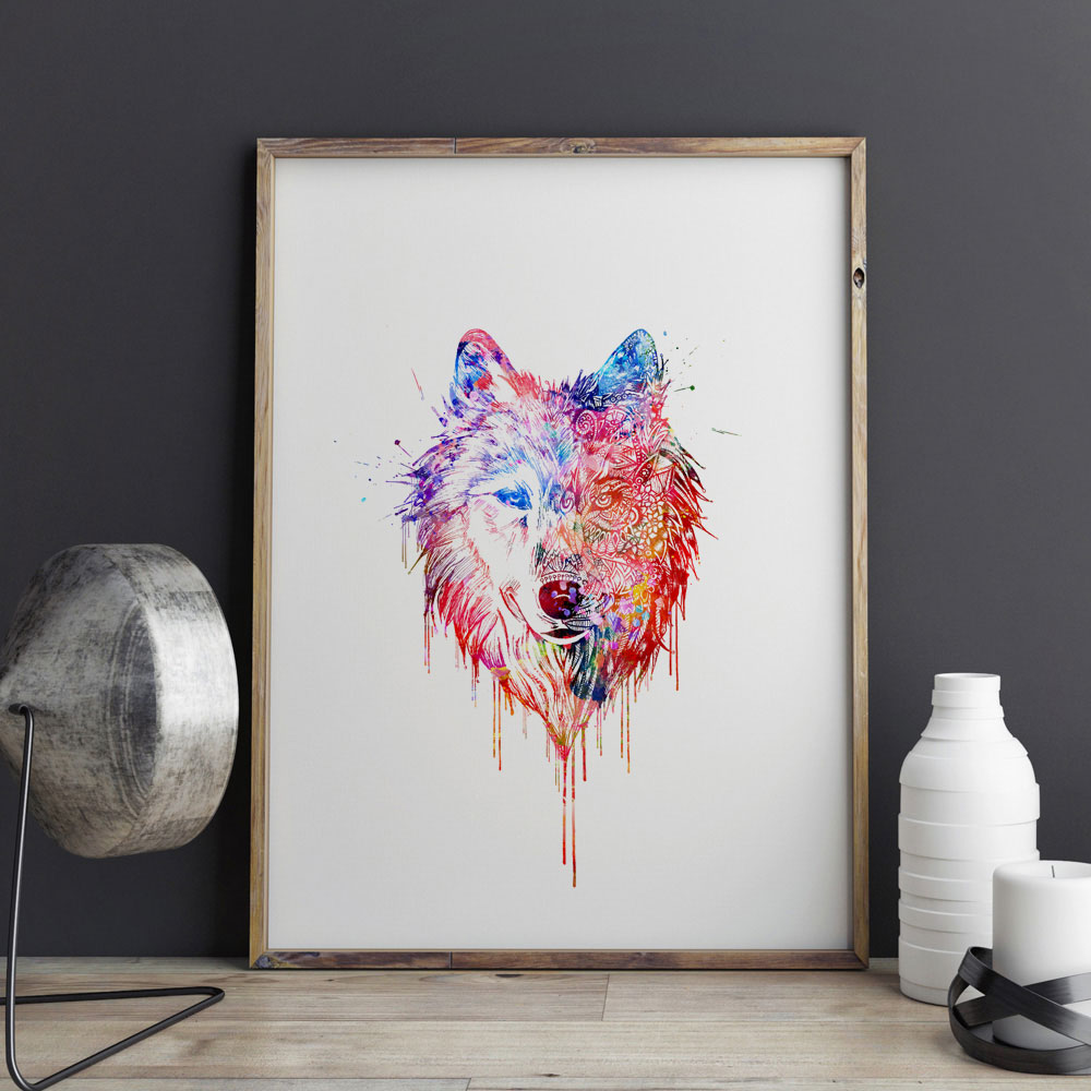 Wall Art Print Wolf Watercolor Paint Home Decor Friends Gift Animal Picture Decorative Nursery E269