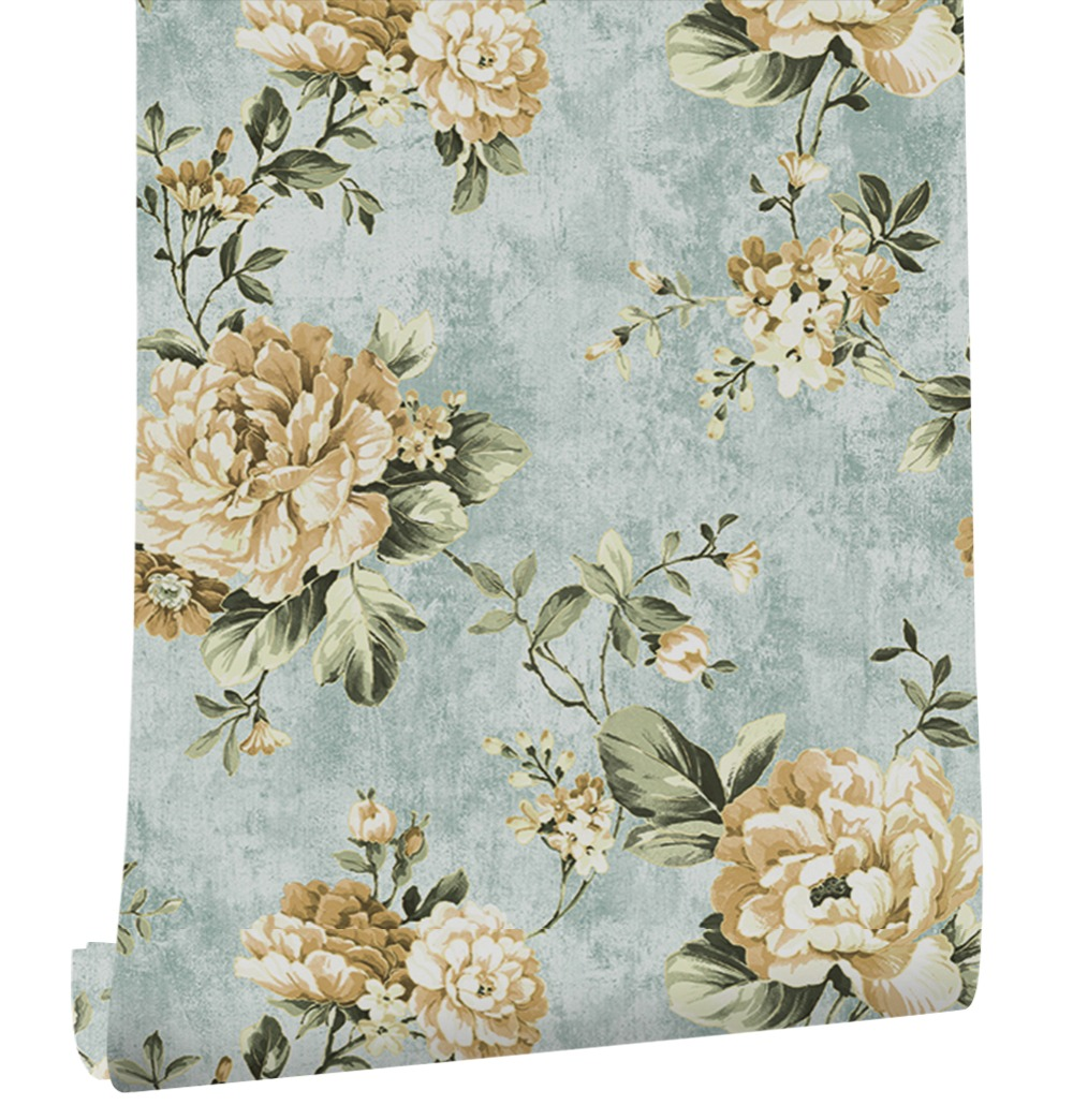 HaokHome Vintage 3d Floral Wallpaper 0.53m*10m Flower Contact paper Blue non woven wall covering Living room Bedroom home Decor home improvement decorative painting wallpaper for walls living room 3d non woven silk wallpapers 3d wall paper retro flowers