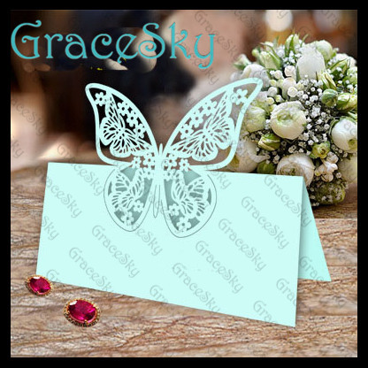 50pcs flower butterfly shaped invitation table decoration for Decoration table pour invites